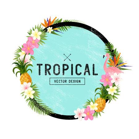 Diseño de la frontera tropical. elementos dibujados a mano tropical incluyendo flor de ave del paraíso, pájaro del flamenco y elementos florales tropicales. Ilustración de vector
