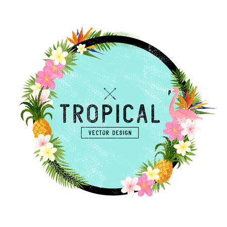 palm wreath: Tropical Border Design. tropical hand drawn elements including bird of paradise flower, flamingo bird and tropical floral elements. Illustration