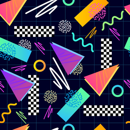 80's: Eighties Seamless Pattern. Classic 1980s seamless grid pattern.