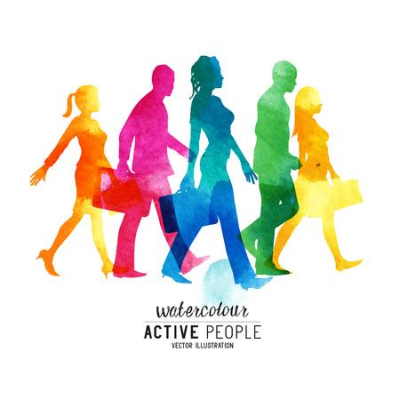 Watercolor Busy Walking People. Een groep van forensen wandelen in de stad.