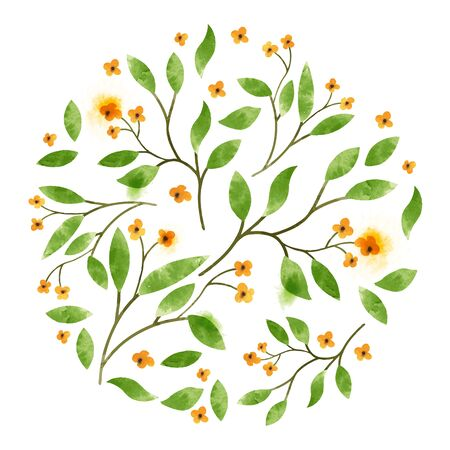 flower decoration: Floral Watercolor. Leaves and branches with orange flowers. Illustration