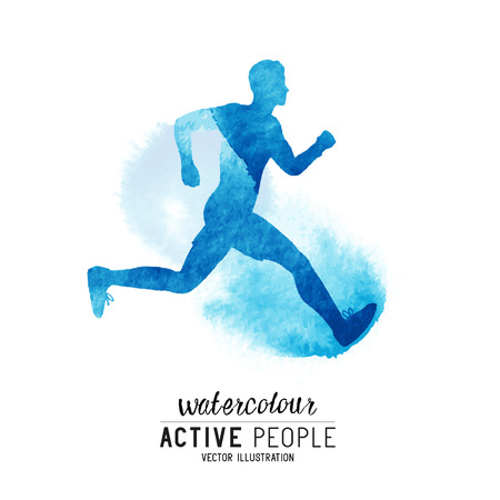Watercolor running man. Active people running. Watercolor style. Vectores