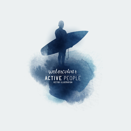 Watercolor Surfing Abstract. Watercolor vlek met een surfer op zoek naar de branding. Stock Illustratie