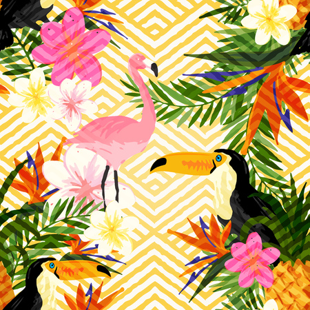 tropical bird: Tropical Geometric Summer. Tropical summer seamless pattern background.