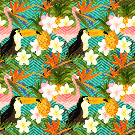 Tropical Geometric Summer. Tropical summer abstract seamless pattern background. Stock Photo