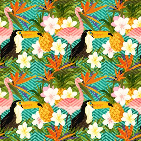 热带夏季几何。热带夏季抽象无缝格局背景。