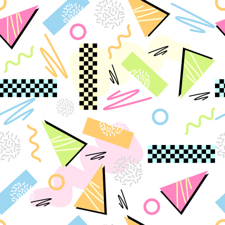 Eighties Seamless Pattern Vector. Classic light pastel 1980s seamless grid pattern. Vector illustration.