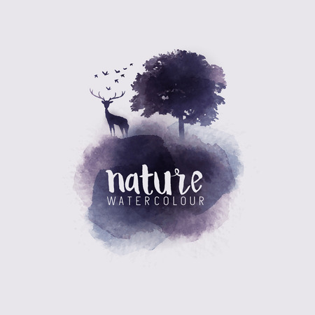 Watercolour Abstract Nature. Watercolour with a tree, stag and birds. Vector illustration. Çizim