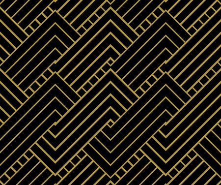 geometric shapes: Geometric Gold shapes Background. Striped gold on black geometric pattern. Vector illustration.