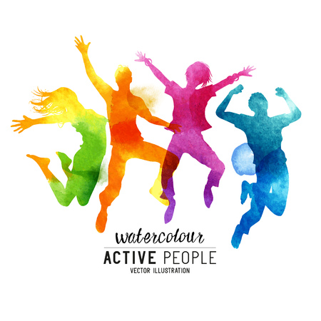 Watercolour Jumping People Vector. A group of freinds jumping into the air. Vector illustration. 일러스트