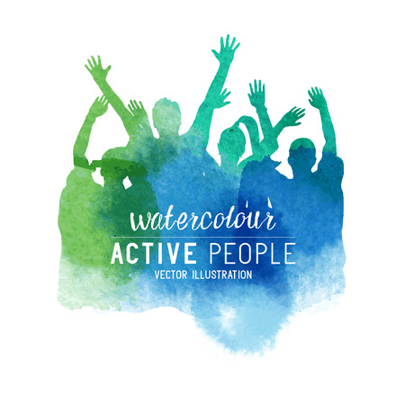 Watercolour Cheering Crowd of People. Group of people in watercolour effect, vector illustration.