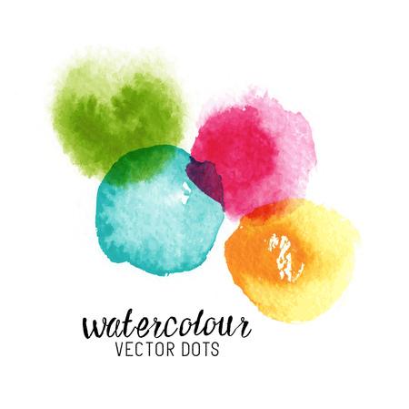 watercolour: Watercolour Vector Dots. Colourful watercolour stains. Vector illustration Illustration