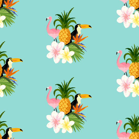 Seamless Tropical Theme background With a Toucan, Flamingo, and tropical floral flowers. Scaleable vector illustration.