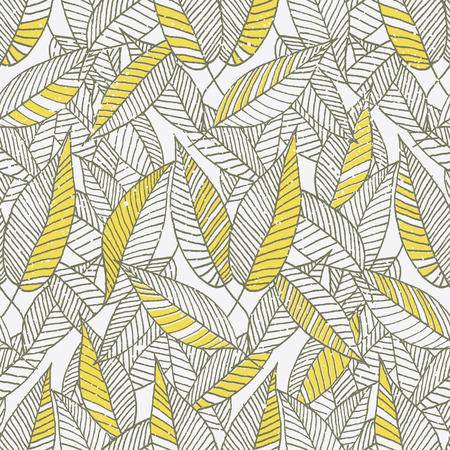 Seamless Floral Leaf Pattern. Repeating leaves pattern. Hand made Vector illustration