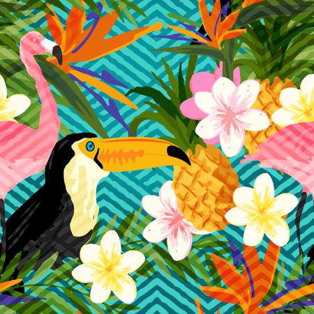 background summer: Tropical Geometric Summer. Tropical summer seamless vector pattern background. Illustration