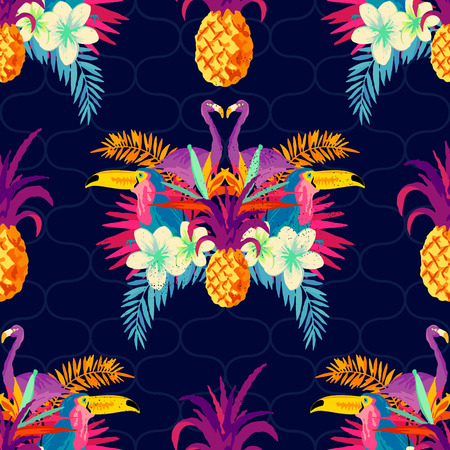 鮮やかな熱帯のシームレスなパターン。ベクトルの図。  イラスト・ベクター素材