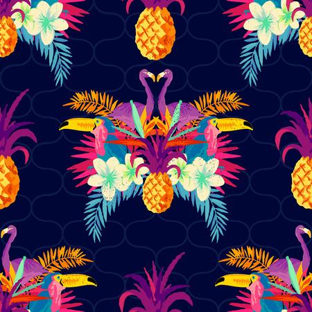 Vivid Tropical Seamless Pattern. Vector illustration.
