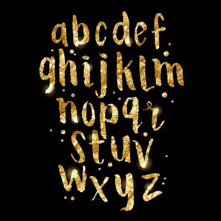 Goldfolie glitzernde Pinsel Letters. Handgemachte Alphabet Schriftzug in Gold. Vektor-Illustration.