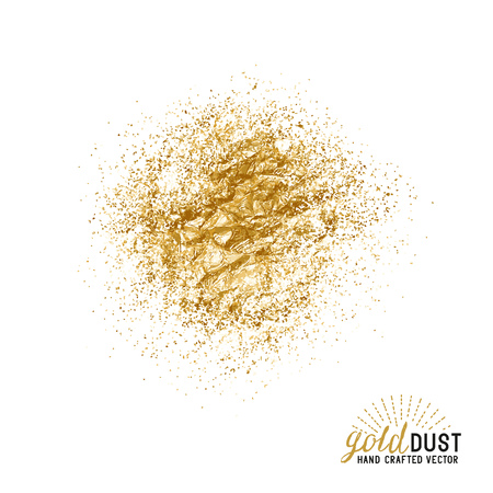 Vector Gold Dust. Folie goud stofdeeltjes. Vector illustratie.