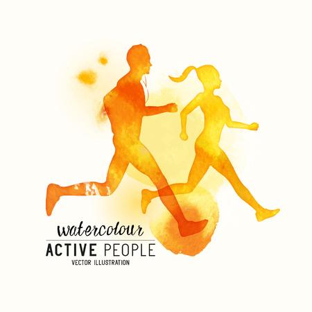 personas corriendo: Acuarela funcionamiento de las personas del vector. Las personas activas en funcionamiento. estilo de acuarela. Ilustración del vector.