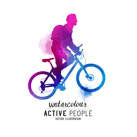 keeping fit: Watercolour Man Riding A Bike. A cyclist keeping fit. Vector illustration.
