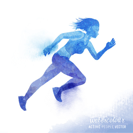 women working out: A young active woman running - Watercolour illustration.