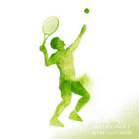about: Active male Tennis player about to hit a tennis ball for serve - Watercolour illustration.