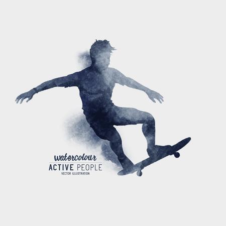 watercolour: A Skater riding a skateboard. Watercolour illustration.
