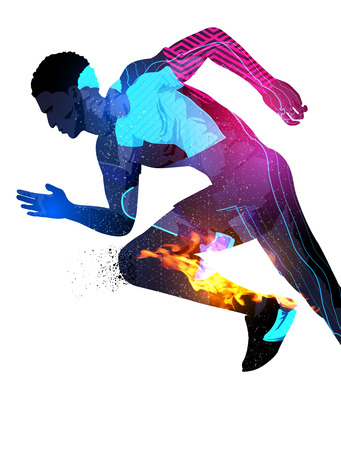 man working out: Double exposure effect illustration of a running sports man with texture effects.