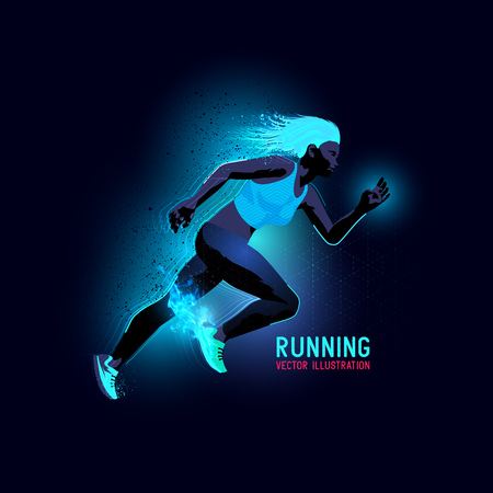 working out: Neon glowing backlit silhouette of a woman running - illustration