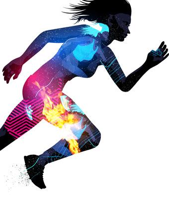 iluminado a contraluz: Doble ilustración efecto de la exposición de una mujer deportiva corriendo con efectos de textura.