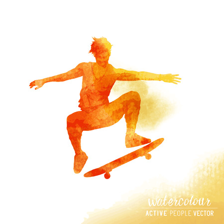 watercolour: A Skater flipping a skateboard. Watercolour illustration.