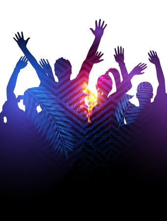 backlit: Double Exposure effect illustration of a huge crowd of young people dancing at a festival.