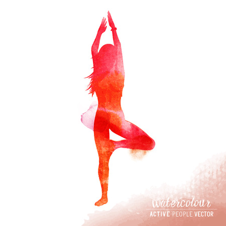 A young lady in a yoga position exercising - Watercolour illustration