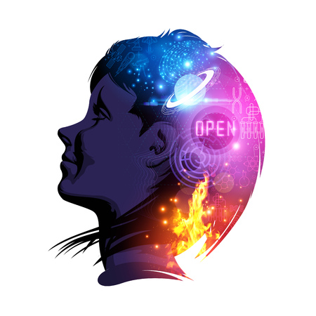 A woman smiling with science and education on her mind. Creative double exposure illustration.