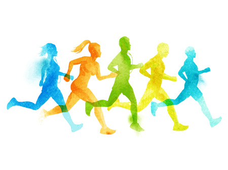 A running group of active people, men and women. Watercolour illustration.
