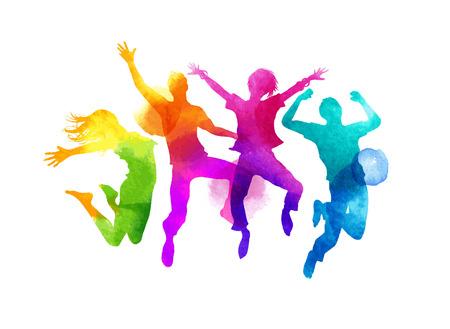 alegria: Un grupo de amigos que saltan expresa felicidad. ilustración de acuarela.