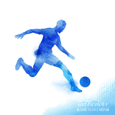 kick out: Professional Football player about to strike the ball - watercolour illustration.