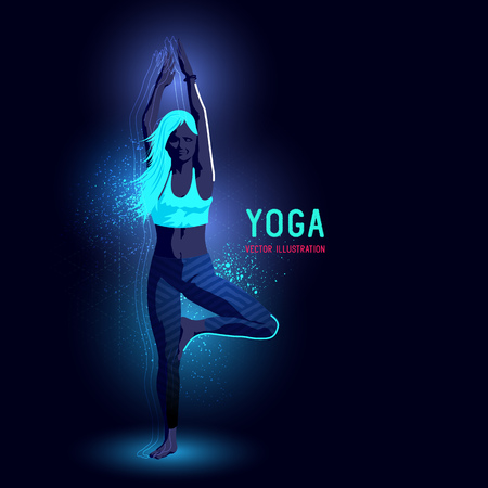 backlit: Neon glowing backlit silhouette of a young lady in a yoga position exercising - illustration Illustration