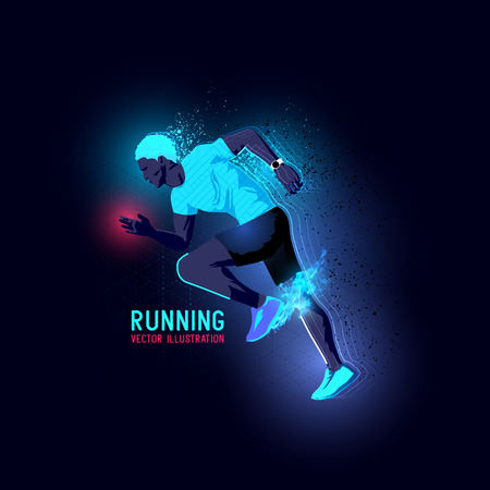 man working out: Neon glowing backlit silhouette of a man running - illustration