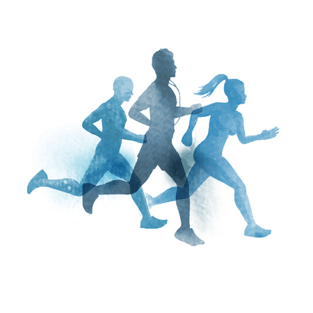A team of active runners. Watercolour illustration.
