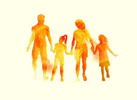 A young happy family walking together. Watercolour illustration. Illustration