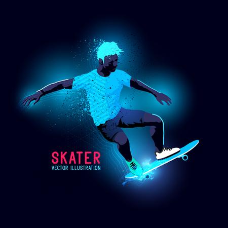 backlit: Neon glowing backlit silhouette of A skater riding a skateboard  - illustration