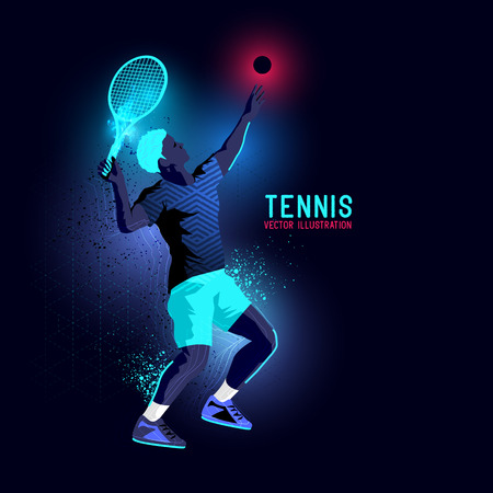 tennis serve: Neon glowing backlit silhouette of professional tennis player about to serve - illustration