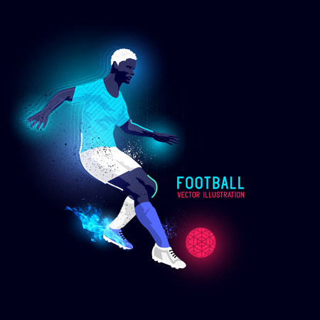 kick out: Neon glowing backlit silhouette of a football player - illustration Illustration