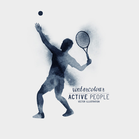 tennis serve: Professional Tennis player about to hit a tennis ball for serve - Watercolour illustration.