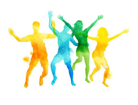 Un groupe d'amis sautant en été. Aquarelle illustration.