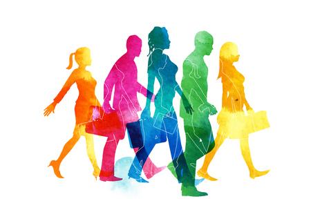 一群忙碌的男性和女性乘客行走在城市。水彩插圖。