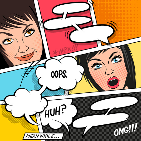 satire: Comic Speech Bubbles on a comic strip background with women. vector illustration
