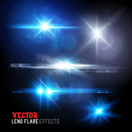 flares: A Set of lens flares and sun flares. Vector illustration transparent effects. Illustration